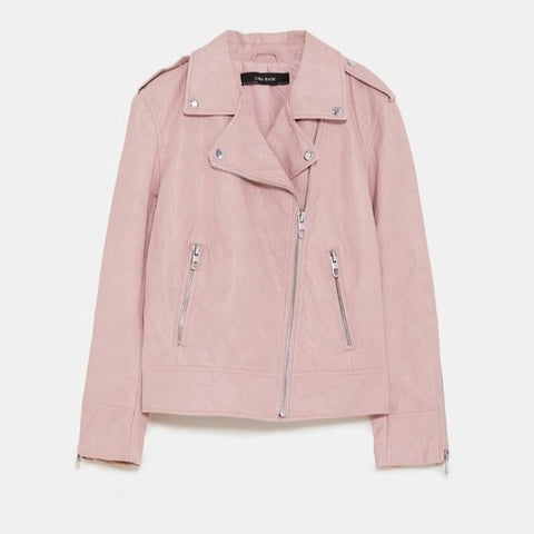Zara Pink Faux Leather Jacket Sz: M