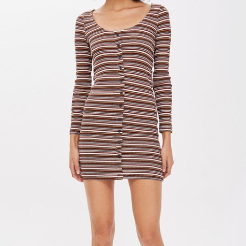 Topshop Striped Bodycon Dress Sz: 2