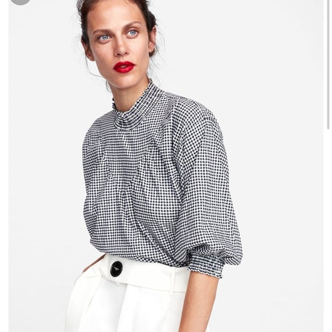 Zara High Neck Gingham Top Sz. M