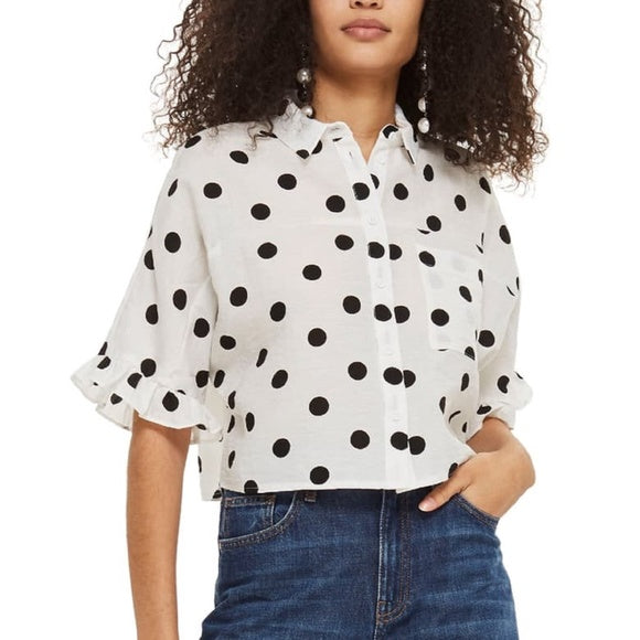 TopShop Cropped Button Up Sz. 2