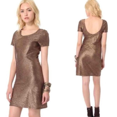 Free People Metallic Bronze Dress Sz L