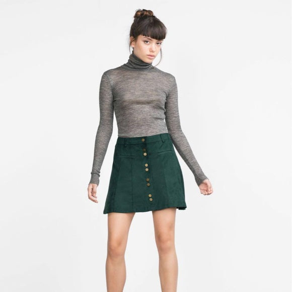 Zara Faux Suede Mini Skirt Green Sz. S