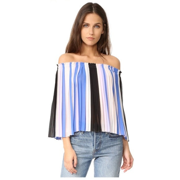 Club Monaco Off The Shoulder Blue /Pink Pleated Top Sz. 2