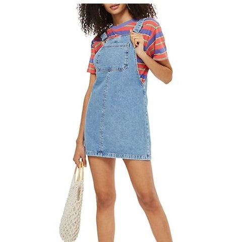 TopShop Denim Overall Dress Sz 4