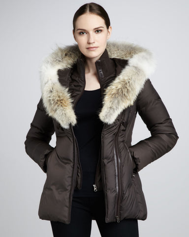 Mackage  Adali Puffer Fur Trim Fitted Coat Sz: XS