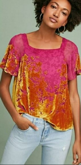 Maeve Pink and Yellow Top Sz; M