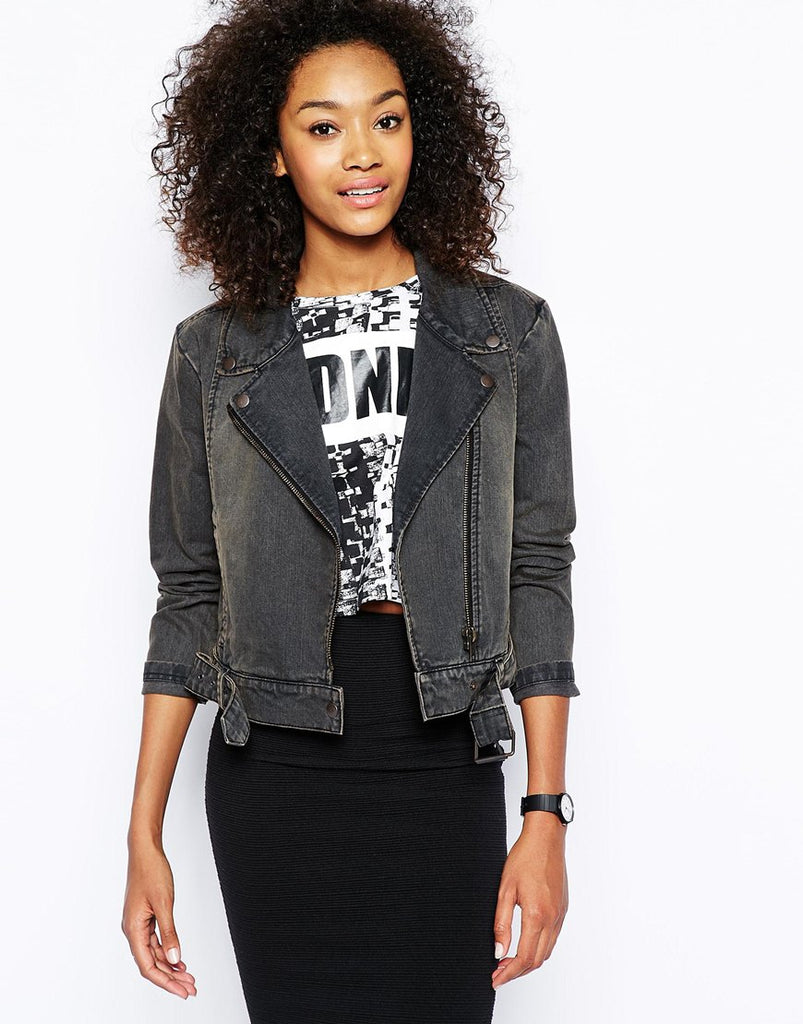 Monki Denim Biker Jacket Sz: L