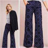 Anthropologie Pant Colour: Navy/ Striped/ Embroidered Size: 0