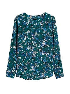 Banana Republic Green Patterned Blouse Sz: L NWT