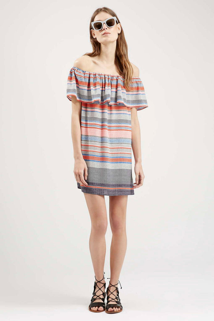 Topshop Striped Bardot Dress Sz: 6