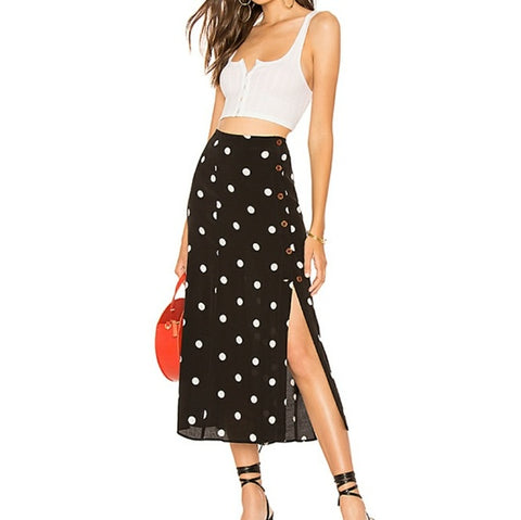Free People Polka-Dot Midi Skirt Sz: 6