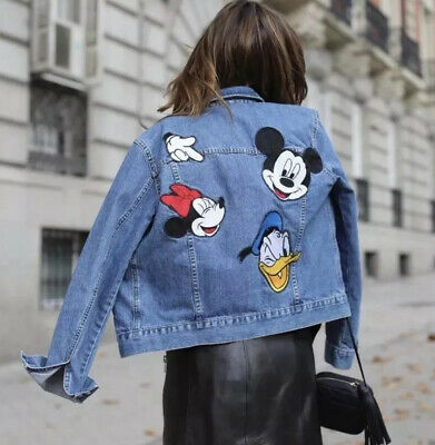 Zara Mickey Mouse Denim Jacket Sz S
