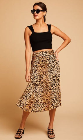 Faithfull the Brand Leopard Midi Skirt Sz. 6