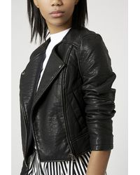 Topshop Collarless Moto Jacket Sz. 8