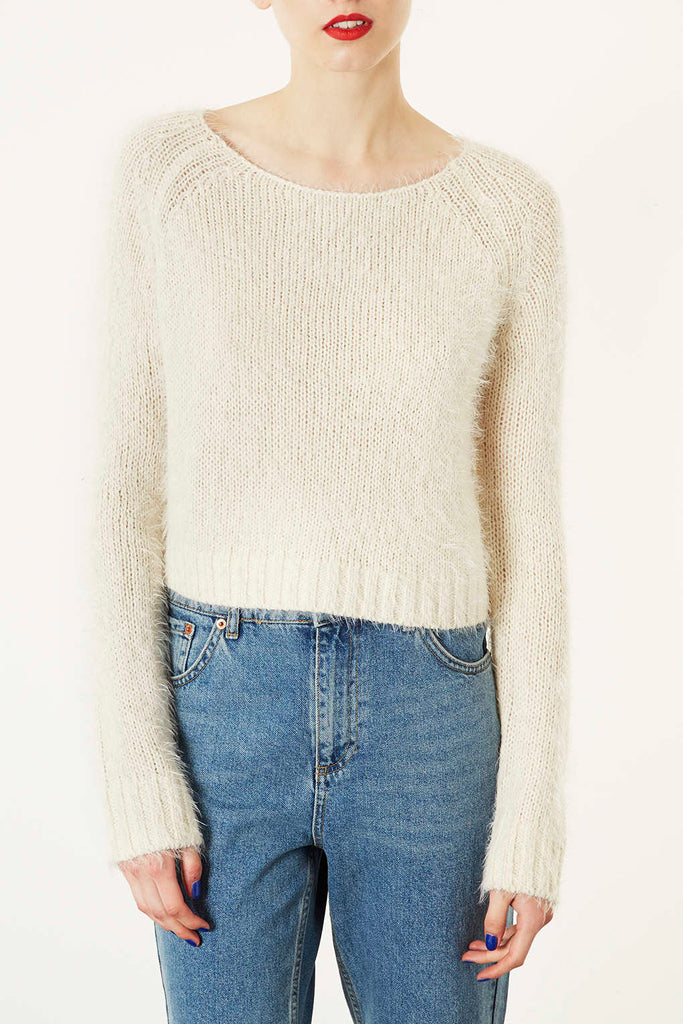 Topshop Fluffy Natural Crop Sweater Size 12