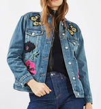 Topshop MOTO Floral Embroidered Denim Jacket Sz: 8