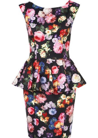 Topshop Floral Peplum Dress Sz 8