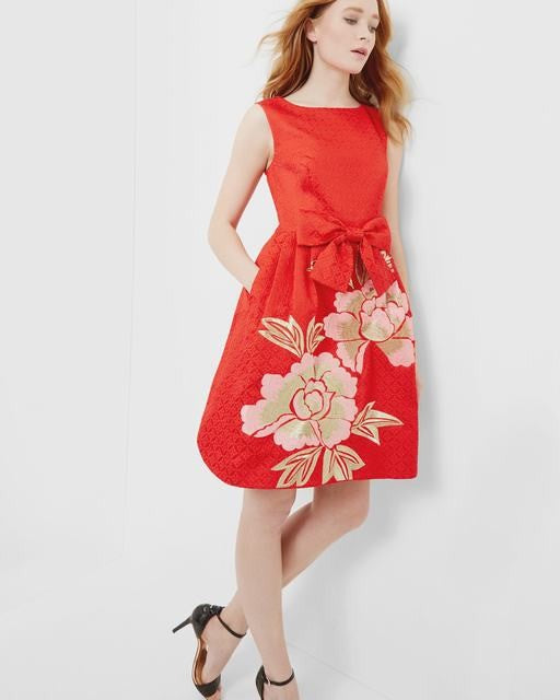 Ted Baker Deemey Regal Romance Jacquard Dress Sz: M
