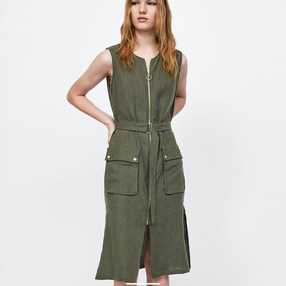Zara Basic Cargo Dress Sz:L