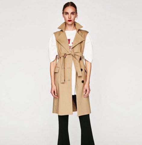 Zara Sleeveless Trench Coat Sz: M