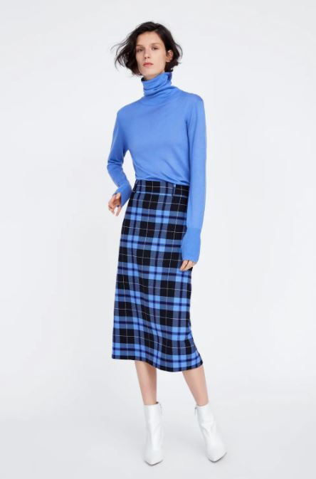 NWT Zara Plaid Midi Skirt Sz: XS