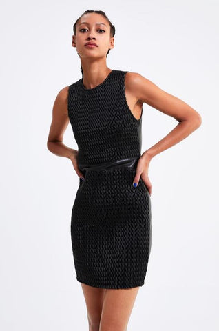 Zara Quilted Vegan Leather Bodycon Dress Sz: S