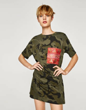 Zara Camo T Shirt Dress Sz:L