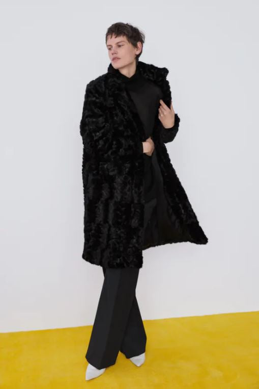 Zara Faux Fur Coat Sz: S
