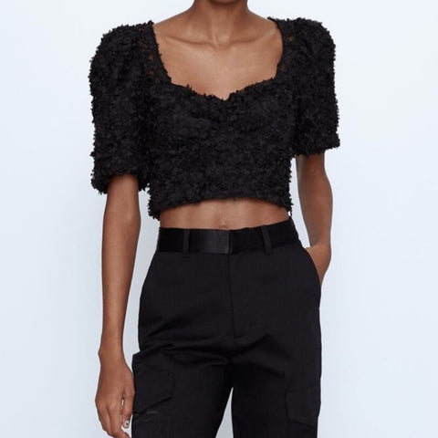 Zara Textured Crop Top Sz: S