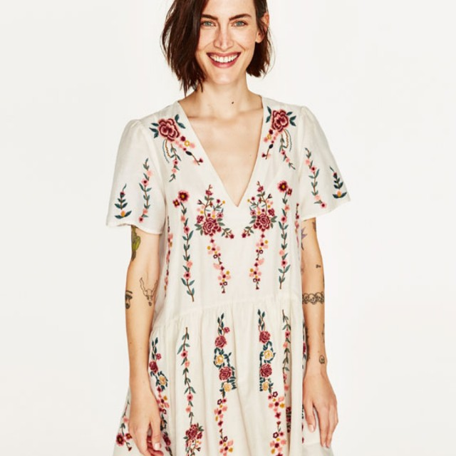 Zara Embroidered Dress Sz: S