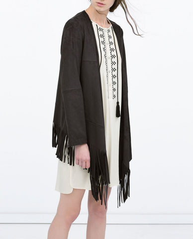 Zara Faux Suede Fringe Jacket Size: Small Colour: Black