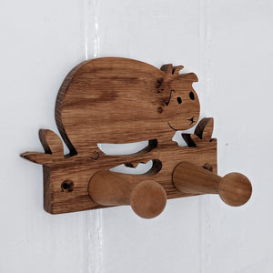 Oak Guinea Pig Coat Hook