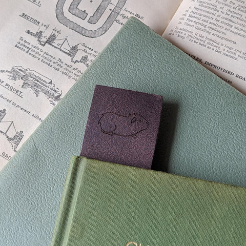 Guinea Pig Book Mark - Brown Leather - Everything Guinea Pig