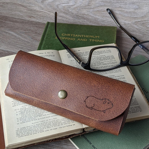 Guinea Pig Glasses Case - Tan Leather
