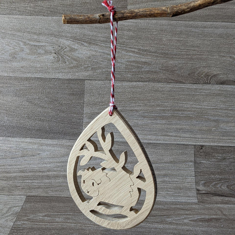 Oak Guinea Pig Decorative Hanger - Red Twine - Everything Guinea Pig