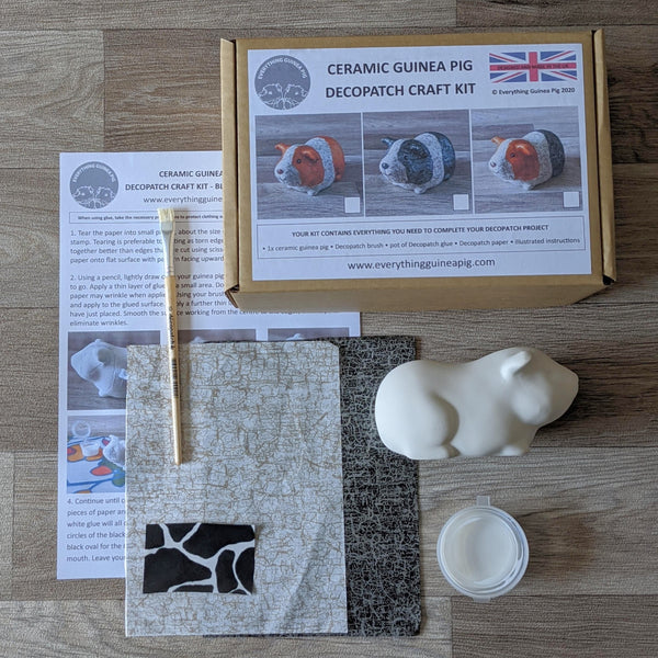Decopatch a  Ceramic Guinea Pig Craft Kit (Black & White) - Everything Guinea Pig