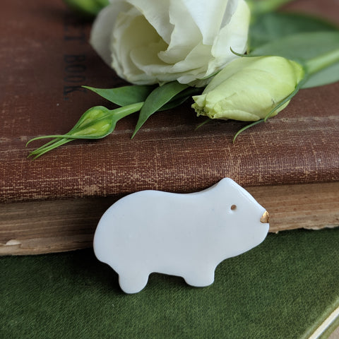 Handmade Porcelain Guinea Pig Brooch - White - Everything Guinea Pig
