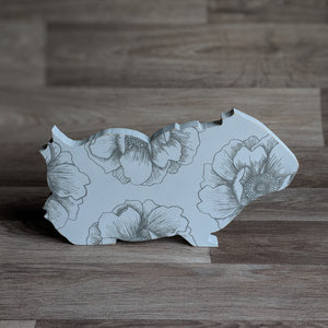 free standing wooden guinea pig ornament - guinea pig decor - grey colour - hand painted in the uk