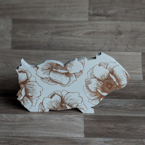free standing wooden guinea pig ornament - guinea pig decor - brown colour - hand painted in the uk