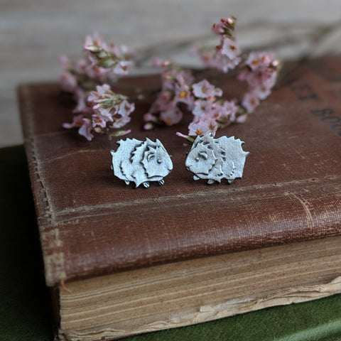 Guinea Pig Stud Earrings - Hand Cast Pewter