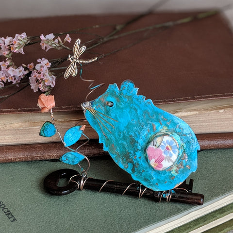 Guinea Pig on Key - Handmade Assemblage - Everything Guinea Pig