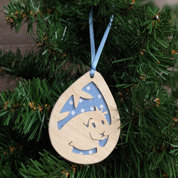 Wooden Guinea Pig Christmas Tree Decoration (Blue)