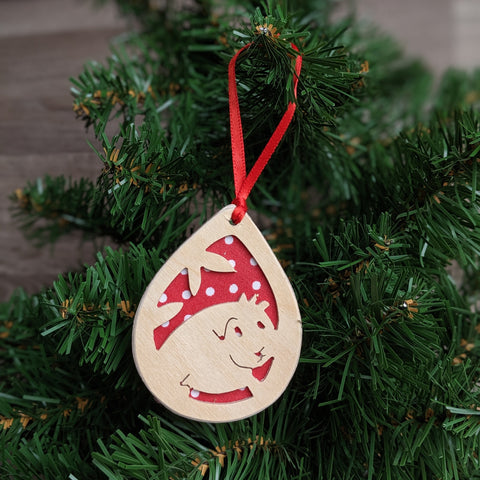 Wooden Guinea Pig Christmas Tree Decoration (Red)