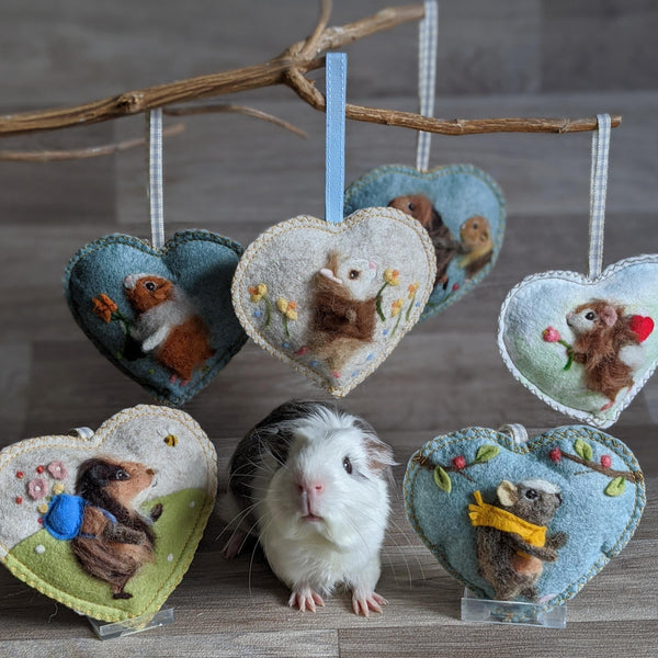 Needle Felted Guinea Pig Lavender Heart Decoration