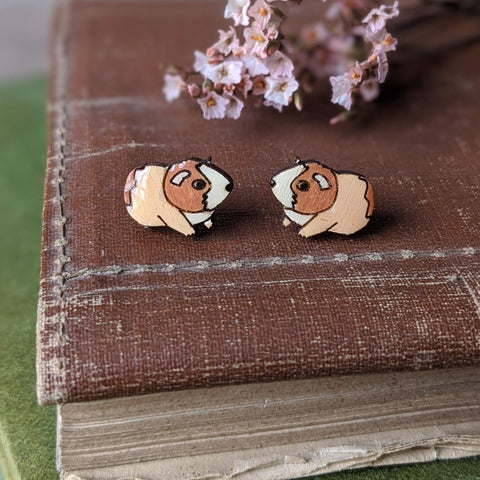 Guinea Pig Stud Earrings - Brown/White