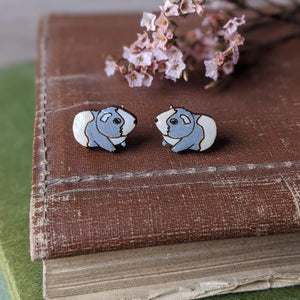 Guinea Pig Stud Earrings - Grey/White