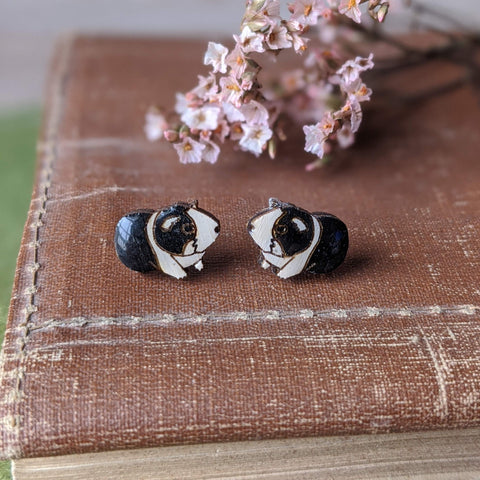 Guinea Pig Stud Earrings - Black/White