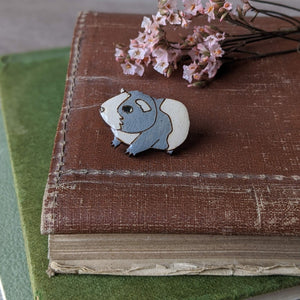 Guinea Pig Pin Badge - Grey/White