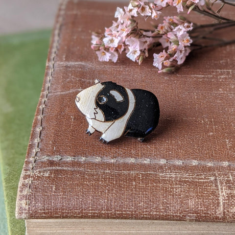 Guinea Pig Pin Badge - Black/White - Everything Guinea Pig