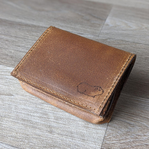 Guinea Pig Card Holder - Tan Leather